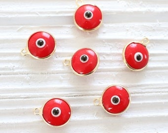 5pc red evil eye beads,  good luck beads, evil eye charm, bracelet charms, glass beads, evil eye pendant, red evil eye, gold bezel evil eye
