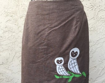 1970s Owl Mini Skirt Small