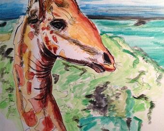 Giraffe in nature scene drawing