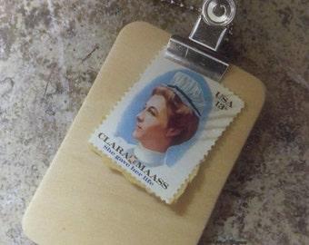 13 cent Clara Maass stamp, 1976 vintage, Nurse gift, stamp charm, nurse thank you, nurse manager, clipboard charm, silver, Nurses Day