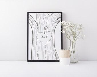 Rustic Monogram Art, Custom Monogram Printable, Wedding Decor Print, Wedding Art, Custom Initials Carved Into Tree