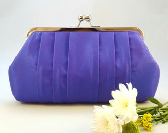 Silk blue violet clutch, Bridesmaid gift, bridesmaid clutch, wedding clutch, evening clutch, clutch purse, personalised gifts UK