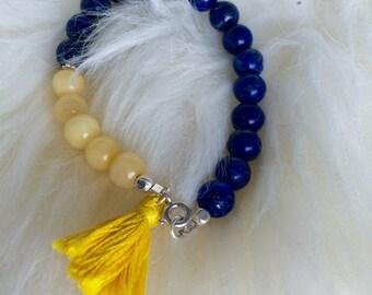Lapis Lazuli, Yellow Jade Mala Bracelet
