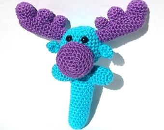 Moose Baby Rattle / Blue and Purple Moose / Crochet Baby Toy / Baby Moose / Crochet Rattle / Baby Shaker Toy / Moose Toy Maraca