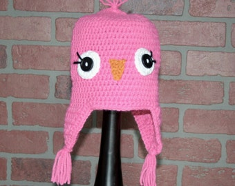 Pink, Girlie Bird Crocheted Hat - FREE SHIPPING