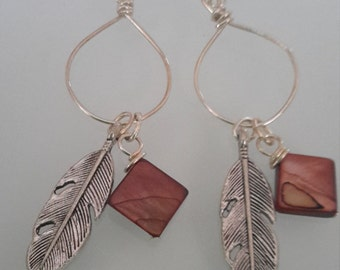 Mother of pearl and Feather earrings