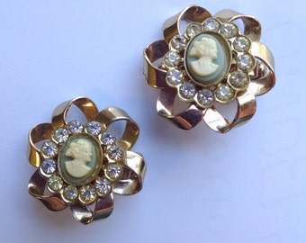 SALE 20% OFF! Pair Cameo Brooches/Pins