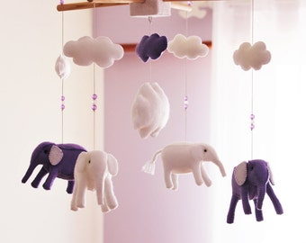 Elephant Felt Baby Mobile, Elephant Crib Mobile Nursery decor,  Nursery Mobile, Elephant Mobile 3 dimensions