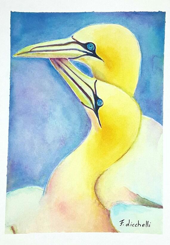 Yellow birds,watercolour,original,ooak,flowers sunset,24x18 cm.9,5x7 inc.,gift idea,birthday,wall art,decoration,child's room