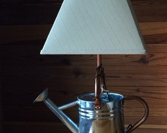 Copper and tin watering can lamp