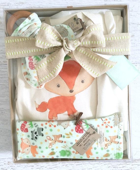 Baby Gift Organic : Organic baby gift handmade set woodland fox