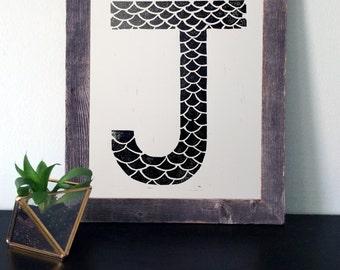 Monogram J Linocut Print