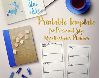 Printable Horizontal Weekly 2-page Template for Personal Recollections Planner - Fillable PDF - use any font