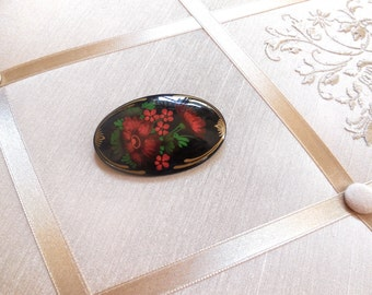 Vintage Russian Laquer Brooch in Black with Red Flowers