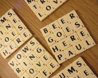 4 Letter Word Scrabble Tile Coasters