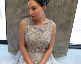 Gray Blue Lace Tea Length Wedding Dress