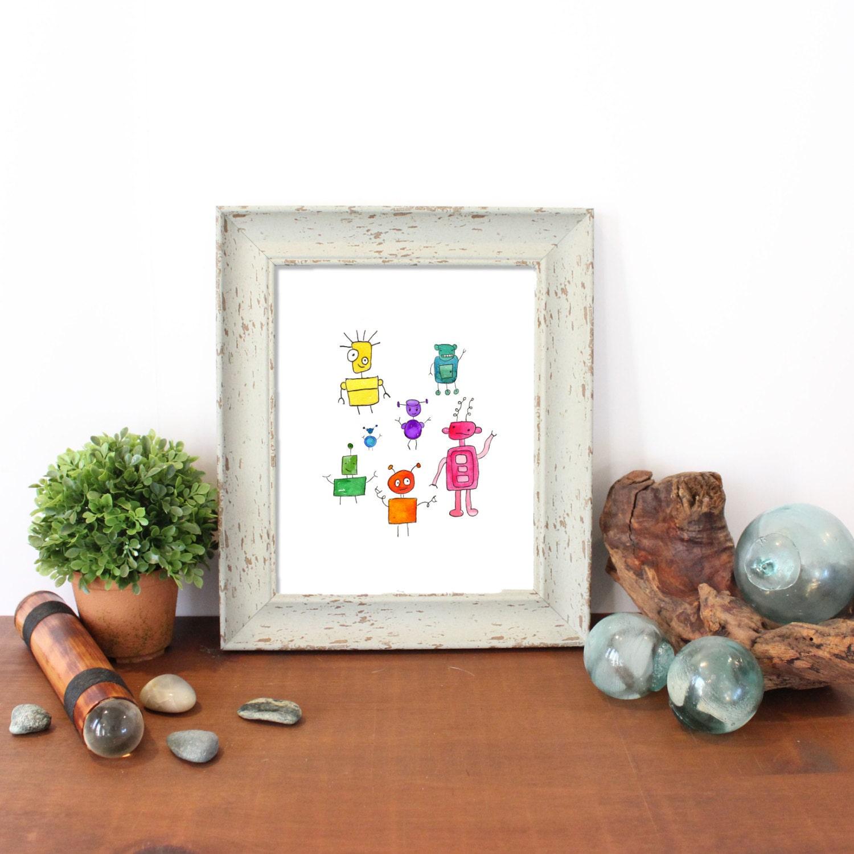 Baby gift robots robot nursery watercolor robots nursery for Robot baby room decor