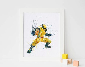Wolverine Xmen Watercolor Superhero Wolverine Art Wolverine Poster Print - Nursery Watercolor Painting - Kids Decor - X-men Illuatration Art