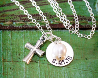 SALE • Baptism Gift • Personalized Baptism Date • Sterling Silver Cross Charm • Custom Baptism Necklace • Confirmation Date Christian Gift