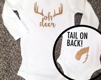 Deer Antler Baby Bodysuit - Oh Deer Glitter Baby Bodysuit with Tail - Outdoor Hunting Baby Bodysuit One Piece