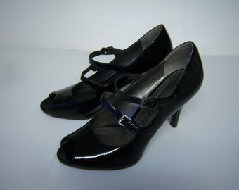 "Vintage Connie Shoes, Black Patent Leather, Peep Toe Heels, No Size, 9.5""  Heel To Toe, Width 3.25"", Some Wear On Inner Lining. Heels 3.25"""