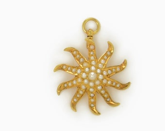 Antique Pearl and 14 Kt. Yellow Gold Starburst