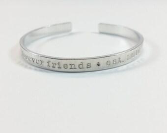 Friendship bracelet, forever friends, friendship cuff, besties, friends, custom, best friends, bracelet, cuffs, jewelry