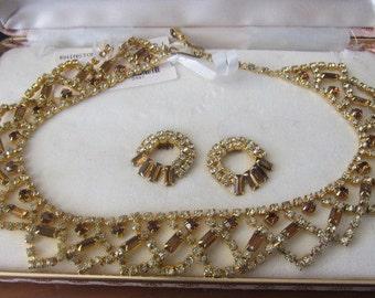 Vintage Rhinestone Necklace & Earring Set