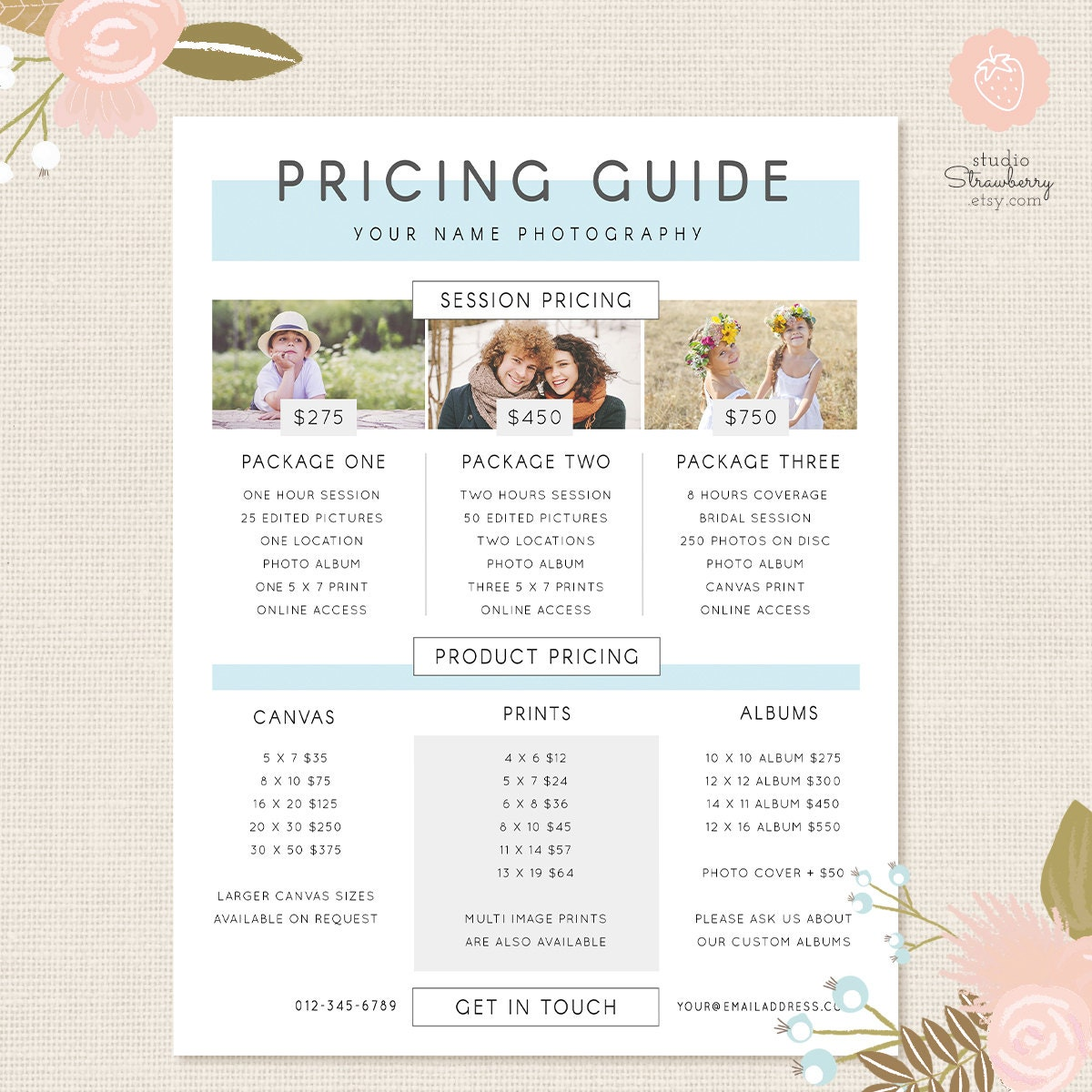 Pricing: Photography Pricing Template Pricing Guide Template Pricing