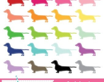 Stitched Dachshund Digital Clipart - 20 Pieces for Personal & Commercial Use