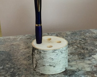 Birch Log Pen Holder