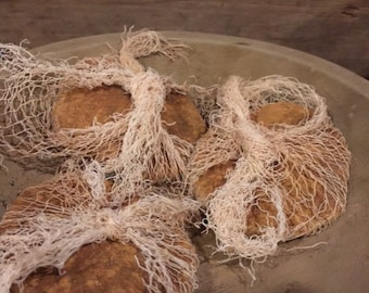 Primitive Early Look Grubby THREE Pantry Cake Biscuits Bowl Fillers Cheese Cloth