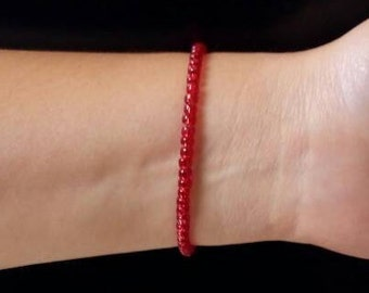 Red Glass Bracelet, Red Minimal Bracelet, Stretch Red Bracelet, Stack-able Bracelets, Ruby Red Bracelet, Good luck Bracelet, Layer Bracelet