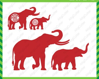 Elephant Family With Monogram frame SVG DXF PNG eps animal Cut Files for Cricut Design, Silhouette studio, Sure Cuts A Lot, Makes the Cut