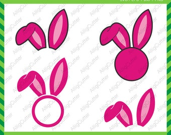 Easter Bunny Ears Monogram Frames SVG DXF PNG eps Rabbit Monogram Cut Files for Cricut Design, Silhouette studio, Sure Cut A Lot, Makes Cut