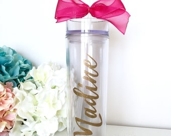 Skinny Water Bottle, Personalized Gift Tumbler, Custom Water bottle, Bachelorette Party Gift, Bridesmaid Water bottle, Personal Bottle