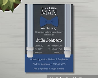 Cute Baby Boy Shower Invitation Template + 2 Thank You cards for MS Word, Baby Boy Shower Card Invite. Printed or DIY Instant Download
