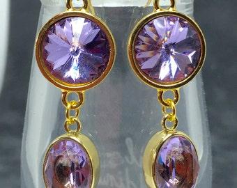 Lavender Swarovski Crystal Drop Earrings