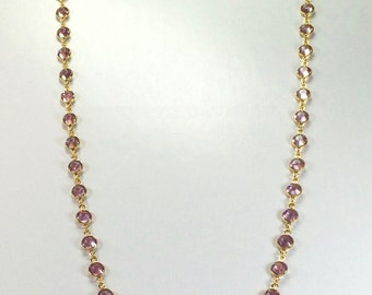 "Raindrops Necklace - Light Amethyst/Gold 36"" Swarovski crystal"