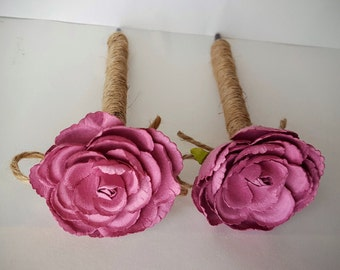 Raspberry Pink Rustic Wedding Jute-wrapped Guest Book Handmade Flower Pen ITEM 194