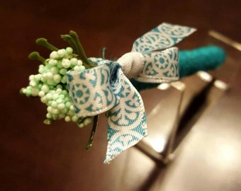Teal Jute-wrapped Rustic Wedding Guest Book Handmade Flower Pen ITEM 240