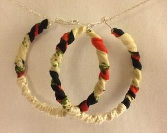 Printed fabric hoop earrings