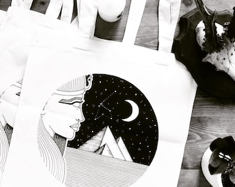 Tote bag noir & blanc Motif «COSMIC GIZEH» Sac de course / sac en coton / sac en toile / shopping bag, sac et cabat / By Emily Mesli