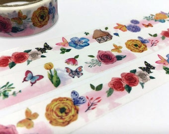 Butterfly flower sticker tape 3M rose flower garden washi tape blossom florist decor tape fancy flower planner gift diary scrapbook