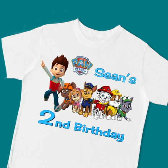 Paw Patrol Birthday Tee. Personalized Birthday By