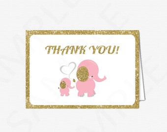 Pink and Gold Elephant Baby Shower Thank You Cards Girl, Elephant Baby Shower, Printable Baby Shower Thank Yous, Thank You Cards, EL0004-LPG