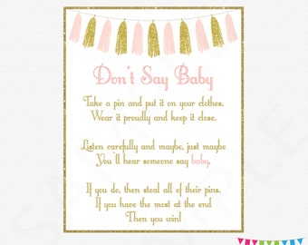 Pink and Gold Baby Shower Games, Don't Say Baby, Printable baby shower, clothes pin game, pink gold tassels, girl baby shower download TASPG