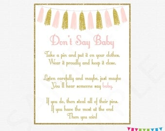 High Quality Pink And Gold Baby Shower Games, Donu0027t Say Baby, Printable Baby Shower