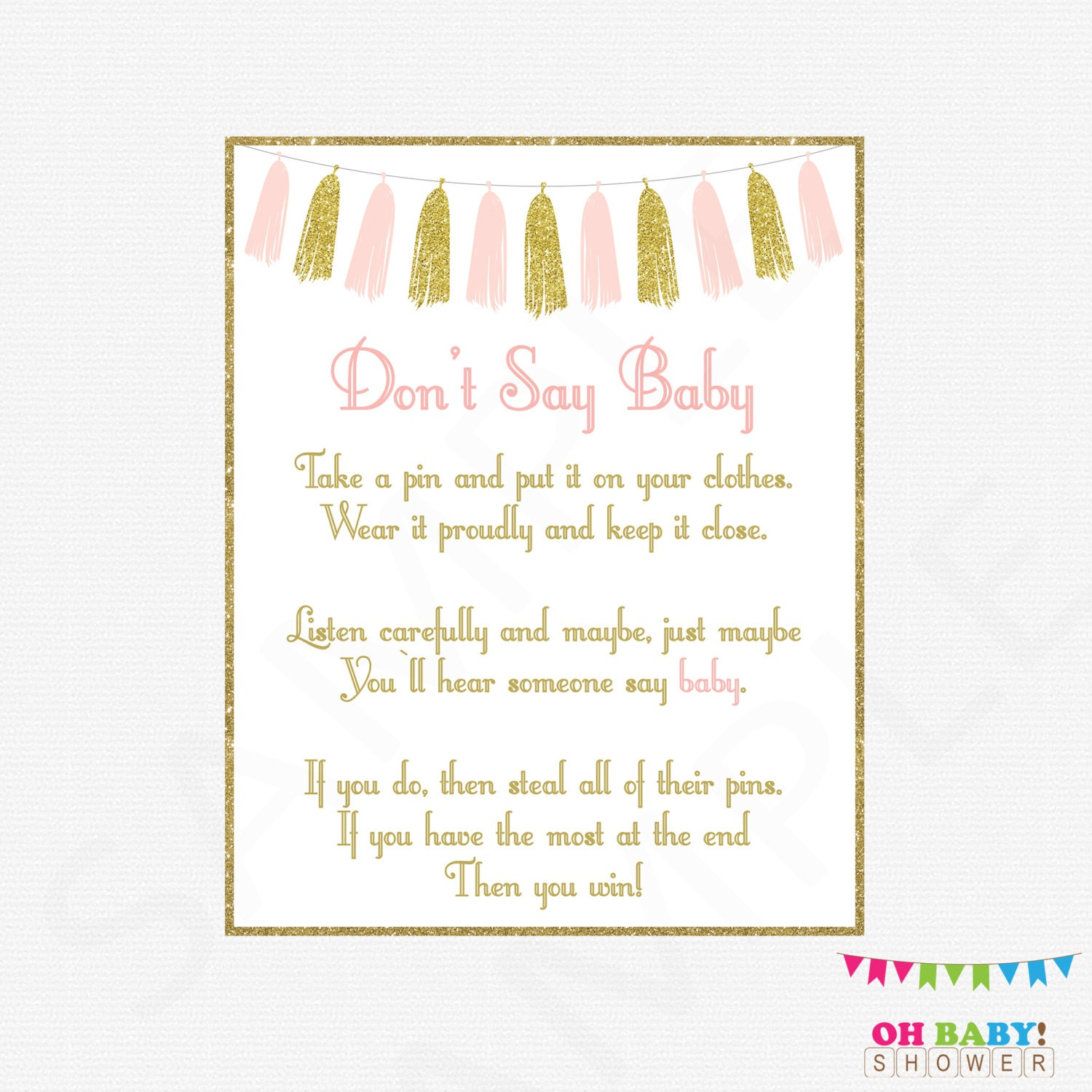 Pink and Gold Baby Shower Games Don t Say Baby Printable