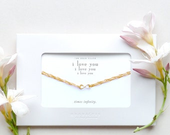 I Love You Times Infinity | Gold Filled Infinity Charm Bracelet Message Card Jewelry Wife Girlfriend Birthday Anniversary Wedding Gift